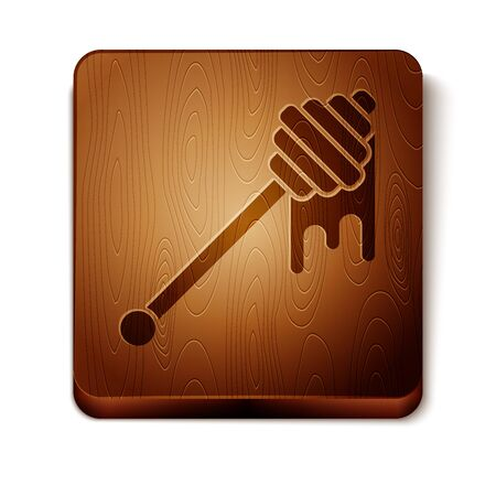 Brown Honey dipper stick with dripping honey icon isolated on white background. Honey ladle. Wooden square button. Vector Illustration Stock Illustratie