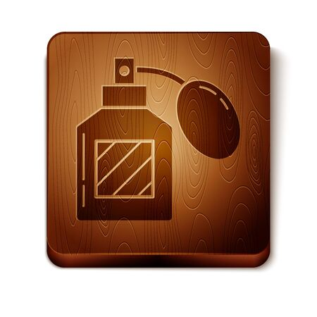 Brown Aftershave icon isolated on white background. Cologne spray icon. Male perfume bottle. Wooden square button. Vector Illustration
