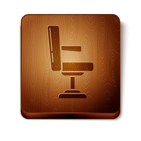 Brown Barbershop chair icon isolated on white background. Barber armchair sign. Wooden square button. Vector Illustration Иллюстрация