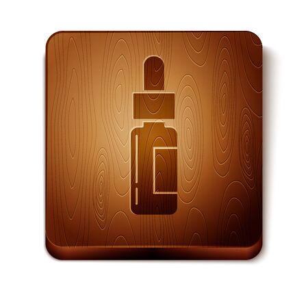 Brown Glass bottle with a pipette. Vial with a pipette inside icon isolated on white background. Container for medical and cosmetic product. Wooden square button. Vector Illustration  イラスト・ベクター素材