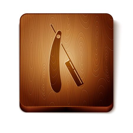 Brown Straight razor icon isolated on white background. Barbershop symbol. Wooden square button. Vector Illustration