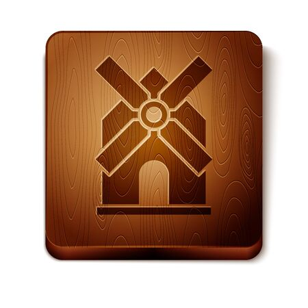 Brown Windmill icon isolated on white background. Wooden square button. Vector Illustration Ilustração