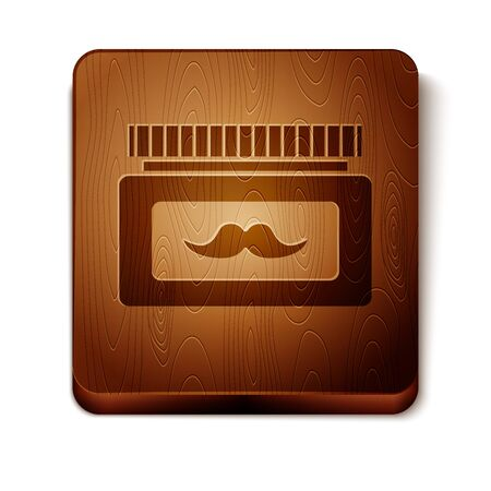Brown Cream or lotion cosmetic jar icon isolated on white background. Body care products for men. Wooden square button. Vector Illustration