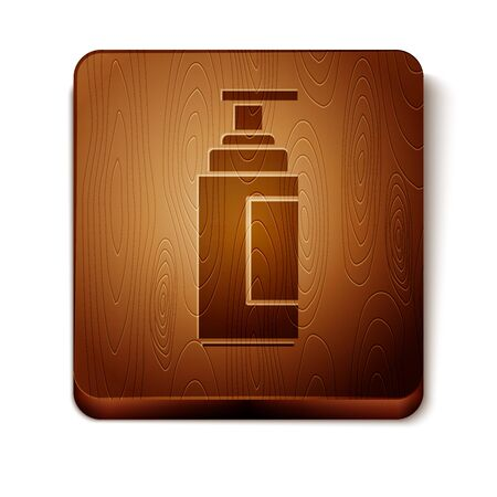 Brown Cream or lotion cosmetic tube icon isolated on white background. Body care products for men. Wooden square button. Vector Illustration Иллюстрация