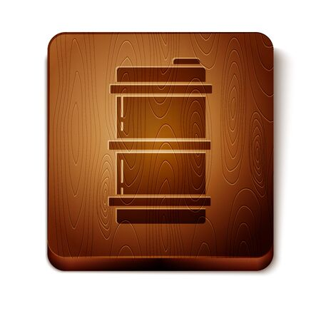 Brown Metal beer keg icon isolated on white background. Wooden square button. Vector Illustration