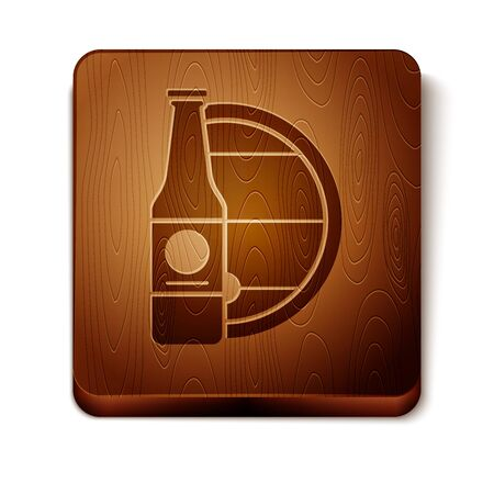 Brown Beer bottle and wooden barrel icon isolated on white background. Wooden square button. Vector Illustration