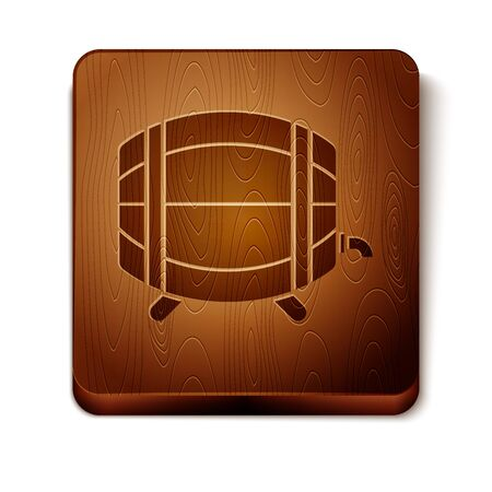 Brown Wooden barrel on rack with stopcock icon isolated on white background. Wooden square button. Vector Illustration Illustration