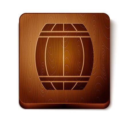 Brown Wooden barrel icon isolated on white background. Alcohol barrel, drink container, wooden keg for beer, whiskey, wine. Wooden square button. Vector Illustration