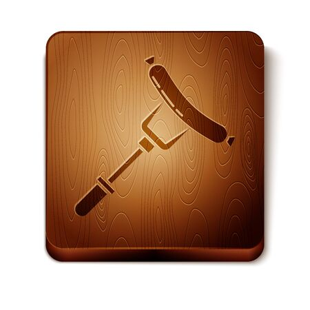 Brown Sausage on the fork icon isolated on white background. Grilled sausage and aroma sign. Wooden square button. Vector Illustration Иллюстрация