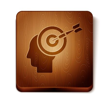 Brown Head hunting concept icon isolated on white background. Business target or Employment sign. Human resource and recruitment for business. Wooden square button. Vector Illustration