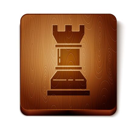 Brown Business strategy icon isolated on white background. Chess symbol. Game, management, finance. Wooden square button. Vector Illustration Çizim
