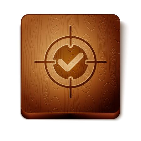Brown Target and check mark icon isolated on white background. Dart board sign. Archery board icon. Dartboard sign. Business goal concept. Wooden square button. Vector Illustration