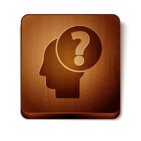 Testa umana marrone con l'icona del punto interrogativo isolato su priorità bassa bianca. Bottone quadrato in legno. illustrazione vettoriale