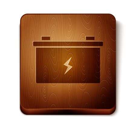 Brown Car battery icon isolated on white background. Accumulator battery energy power and electricity accumulator battery. Wooden square button. Vector Illustration  イラスト・ベクター素材