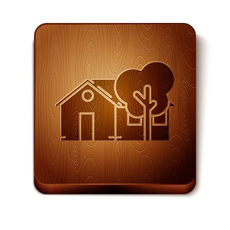 Brown Eco friendly house icon isolated on white background. Eco house with tree. Wooden square button. Vector Illustration