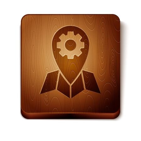 Brown Location job icon isolated on white background. Wooden square button. Vector Illustration 일러스트