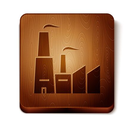Brown Factory icon isolated on white background. Industrial building. Wooden square button. Vector Illustration