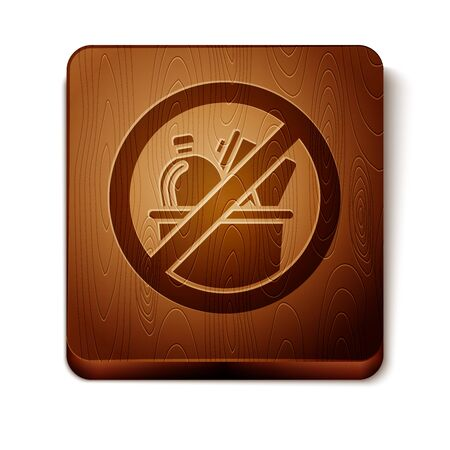 Brown No trash icon isolated on white background. Wooden square button. Vector Illustration