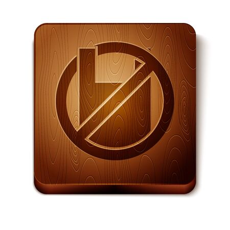 Brown Say no to plastic bags poster icon isolated on white background. Disposable cellophane and polythene package prohibition sign. Wooden square button. Vector Illustration