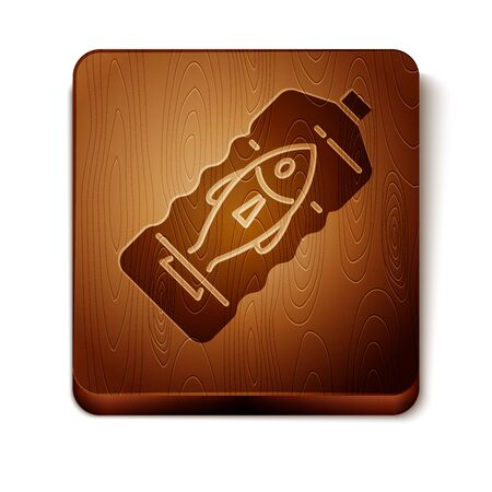 Brown Stop ocean plastic pollution icon isolated on white background. Environment protection concept. Fish say no to plastic. Wooden square button. Vector Illustration