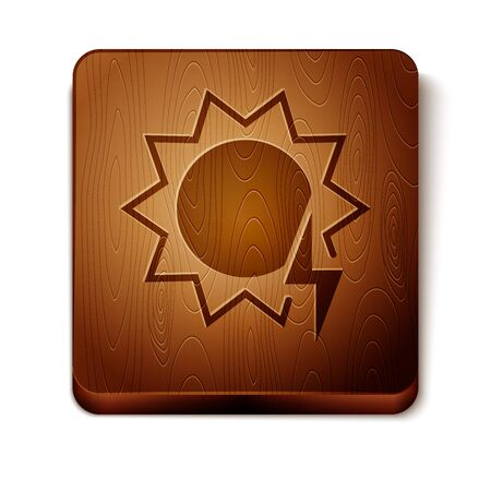 Brown Solar energy panel icon isolated on white background. Sun with lightning symbol. Wooden square button. Vector Illustration