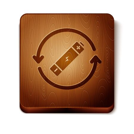 Brown Battery with recycle symbol line icon isolated on white background. Battery with recycling symbol - renewable energy concept. Wooden square button. Vector Illustration