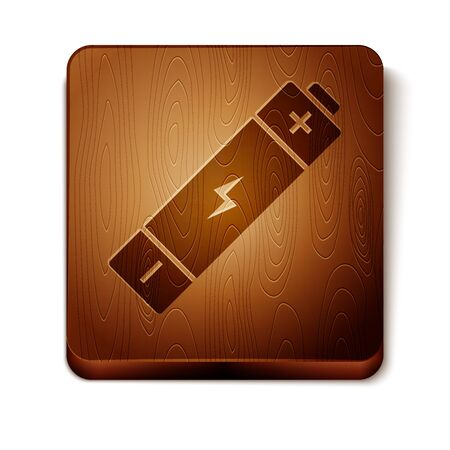 Brown Battery icon isolated on white background. Lightning bolt symbol. Wooden square button. Vector Illustration Ilustração