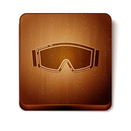 Brown Ski goggles icon isolated on white background. Extreme sport. Sport equipment. Wooden square button. Vector Illustration