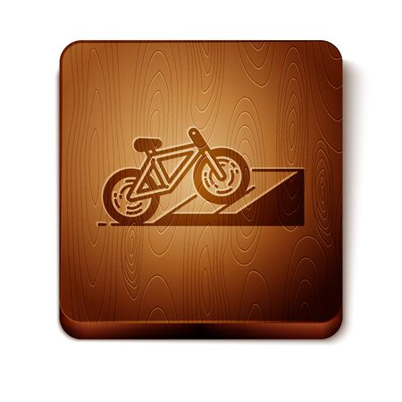 Brown Bicycle on street ramp icon isolated on white background. Skate park. Extreme sport. Sport equipment. Wooden square button. Vector Illustration
