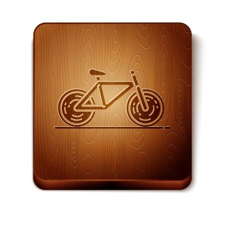 Brown Bicycle icon isolated on white background. Bike race. Extreme sport. Sport equipment. Wooden square button. Vector Illustration