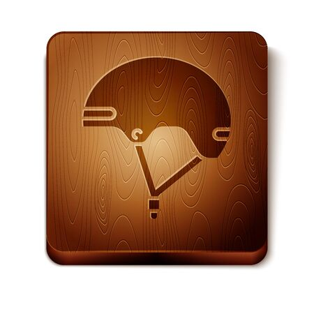 Brown Helmet icon isolated on white background. Extreme sport. Sport equipment. Wooden square button. Vector Illustration