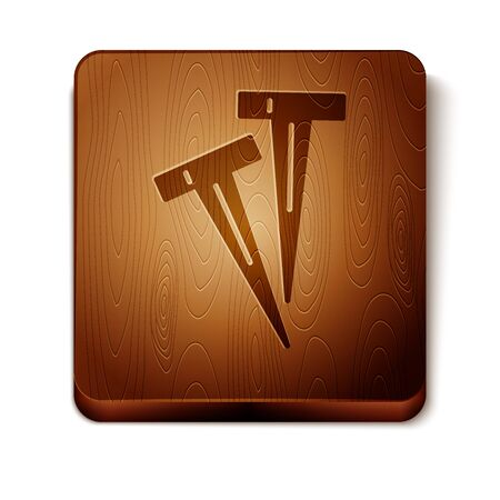 Brown Pegs for tents icon isolated on white background. Extreme sport. Sport equipment. Wooden square button. Vector Illustration 일러스트