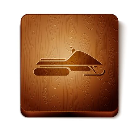 Brown Snowmobile icon isolated on white background. Snowmobiling sign. Extreme sport. Wooden square button. Vector Illustration  イラスト・ベクター素材