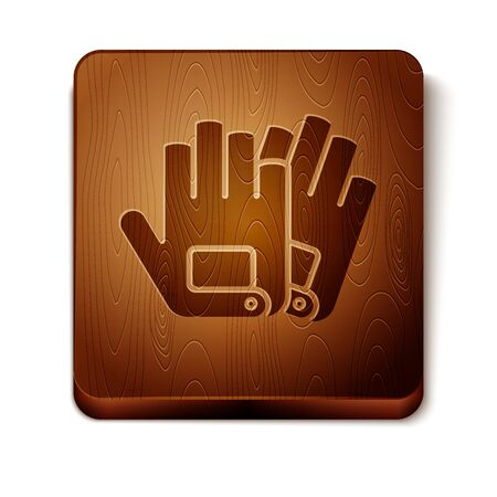 Brown Gloves icon isolated on white background. Extreme sport. Sport equipment. Wooden square button. Vector Illustration Иллюстрация