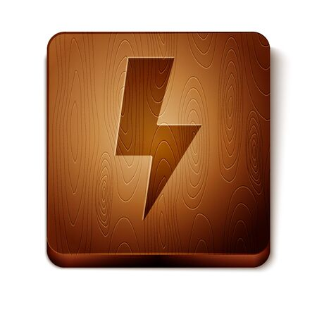 Brown Lightning bolt icon isolated on white background. Flash sign. Charge flash icon. Thunder bolt. Lighting strike. Wooden square button. Vector Illustration 向量圖像