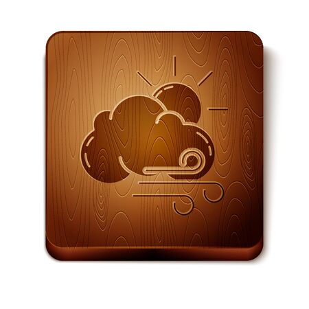 Brown Windy weather icon isolated on white background. Sun with cloud and wind. Wooden square button. Vector Illustration