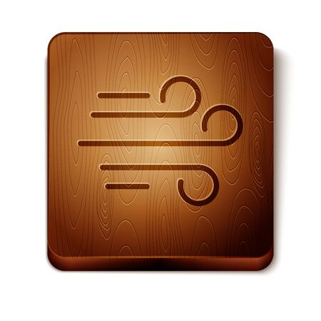 Brown Wind icon isolated on white background. Windy weather. Wooden square button. Vector Illustration Иллюстрация