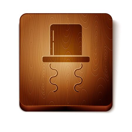 Brown Orthodox jewish hat with sidelocks icon isolated on white background. Jewish men in the traditional clothing. Judaism symbols. Wooden square button. Vector Illustration Ilustração
