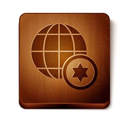 Brown World Globe and Israel icon isolated on white background. Wooden square button. Vector Illustration