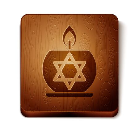 Brown Burning candle in candlestick with star of david icon isolated on white background. Cylindrical candle stick with burning flame. Wooden square button. Vector Illustration Ilustração