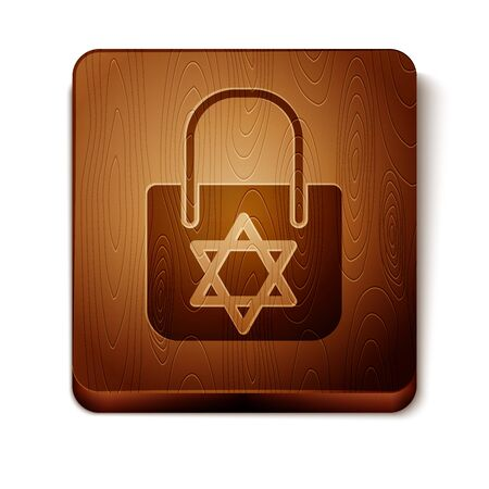 Brown Shopping bag with star of david icon isolated on white background. Package sign. Wooden square button. Vector Illustration