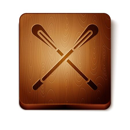 Brown Crossed paddle icon isolated on white background. Paddle boat oars. Wooden square button. Vector Illustration