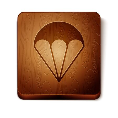 Brown Parachute icon isolated on white background. Extreme sport. Sport equipment. Wooden square button. Vector Illustration Иллюстрация