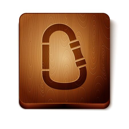 Brown Carabiner icon isolated on white background. Extreme sport. Sport equipment. Wooden square button. Vector Illustration Foto de archivo - 129897813