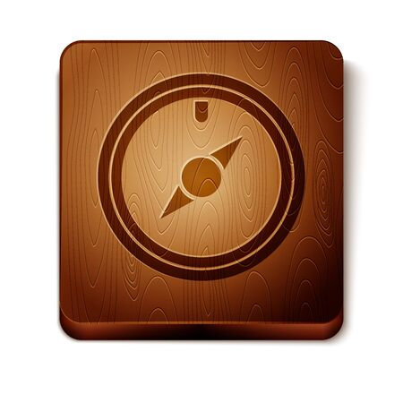 Brown Wind rose icon isolated on white background. Compass icon for travel. Navigation design. Wooden square button. Vector Illustration Illustration