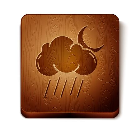 Brown Cloud with rain and moon icon isolated on white background. Rain cloud precipitation with rain drops. Wooden square button. Vector Illustration Illustration