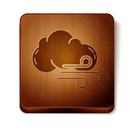 Brown Windy weather icon isolated on white background. Cloud and wind. Wooden square button. Vector Illustration Иллюстрация