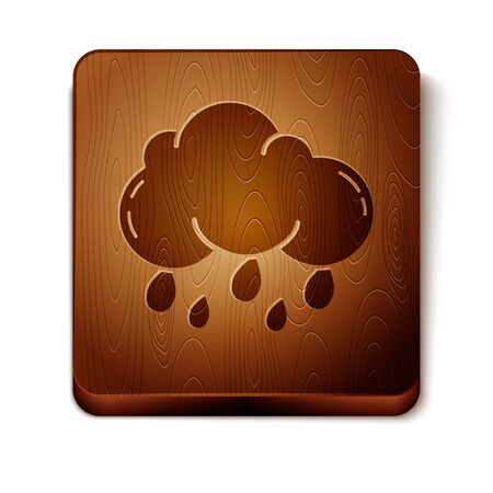Brown Cloud with rain icon isolated on white background. Rain cloud precipitation with rain drops. Wooden square button. Vector Illustration
