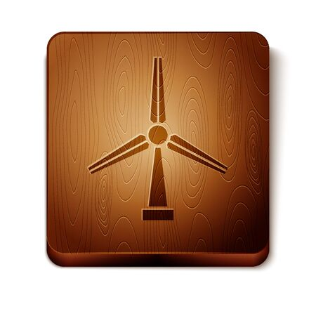 Brown Wind turbine icon isolated on white background. Wind generator sign. Windmill silhouette. Windmill for electric power production. Wooden square button. Vector Illustration
