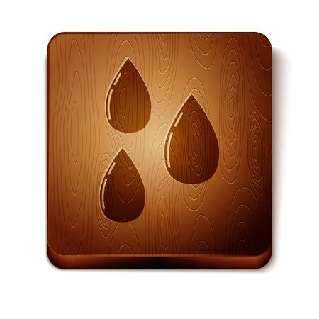 Brown Water drop icon isolated on white background. Wooden square button. Vector Illustration